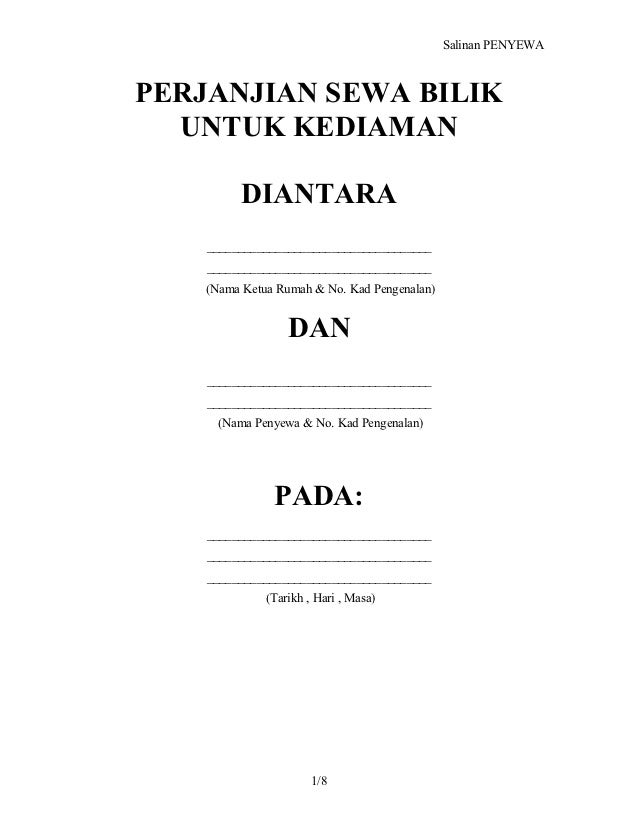 Contoh Surat Perjanjian Sewa Rumah Simple Sekitar Rumah