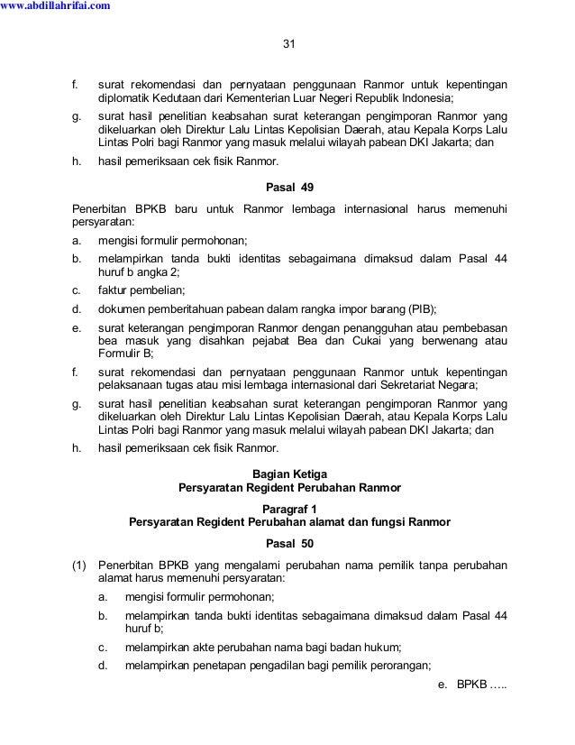 Perkap Nomor 5 Tahun 2012 Tentang Regident Kendaraan Bermotor