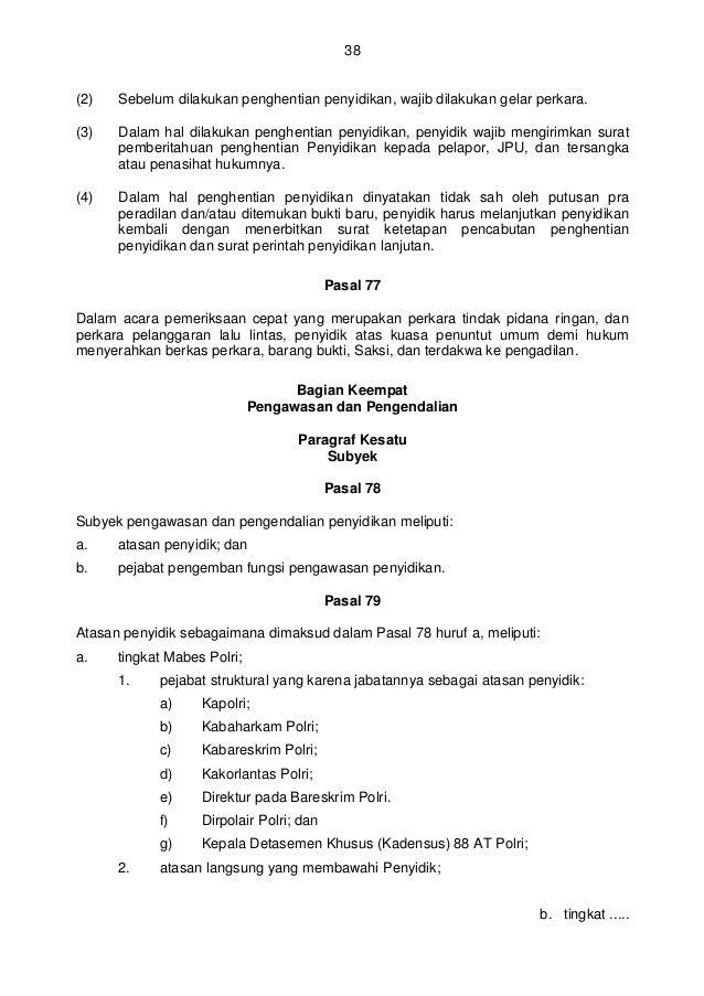 perka polri no 14 thn 2012 ttg manajemen penyidikan tindak