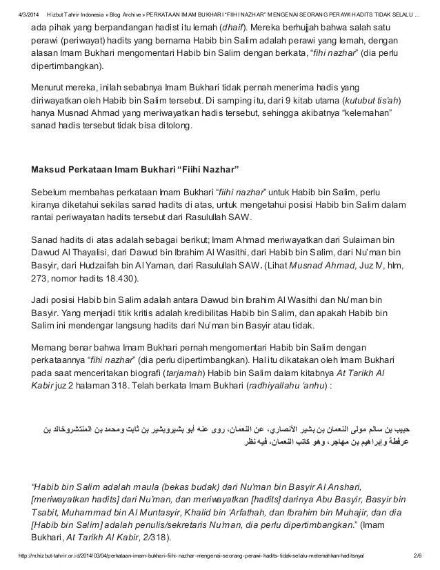 Perkataan Imam Bukhari Fiihi Nazhar Mengenai Seorang Perawi Hadits
