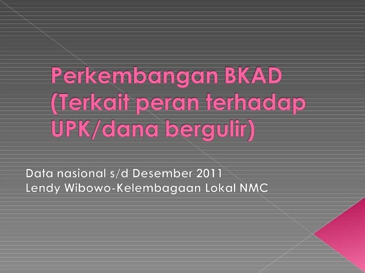 Perkembangan BKAD (dalam kaitan thd UPK-Lendy WW)