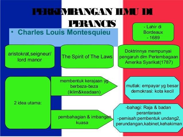 PERKEMBANGAN ILMU DI  PERANCIS  • Charles Louis Montesquieu  aristokrat,seigneur/  lord manor The Spirit of The Laws  2 id...