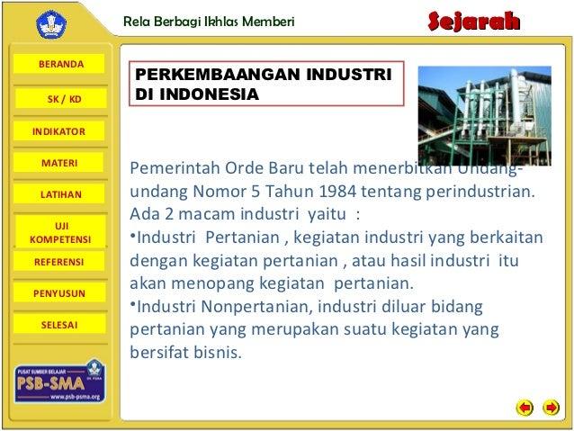 Rela Berbagi Ikhlas Memberi           Sejarah BERANDA              PERKEMBAANGAN INDUSTRI  SK / KD     DI INDONESIAINDIKAT...