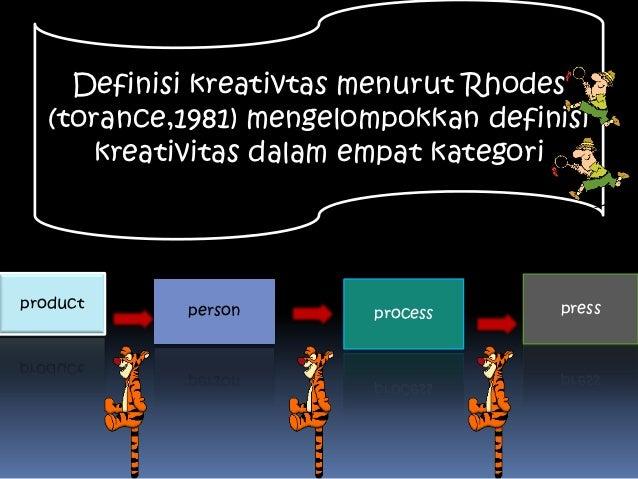 Definisi kreativtas menurut Rhodes   (torance,1981) mengelompokkan definisi      kreativitas dalam empat kategoriproduct  ...