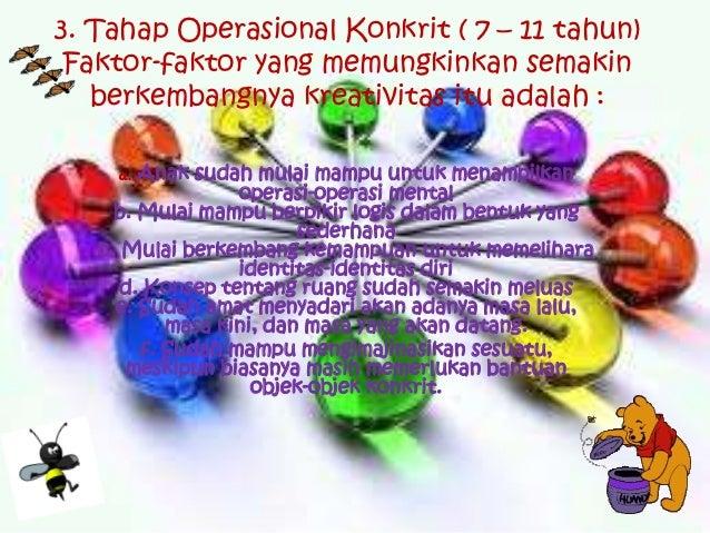 3. Tahap Operasional Konkrit ( 7 – 11 tahun) Faktor-faktor yang memungkinkan semakin   berkembangnya kreativitas itu adala...