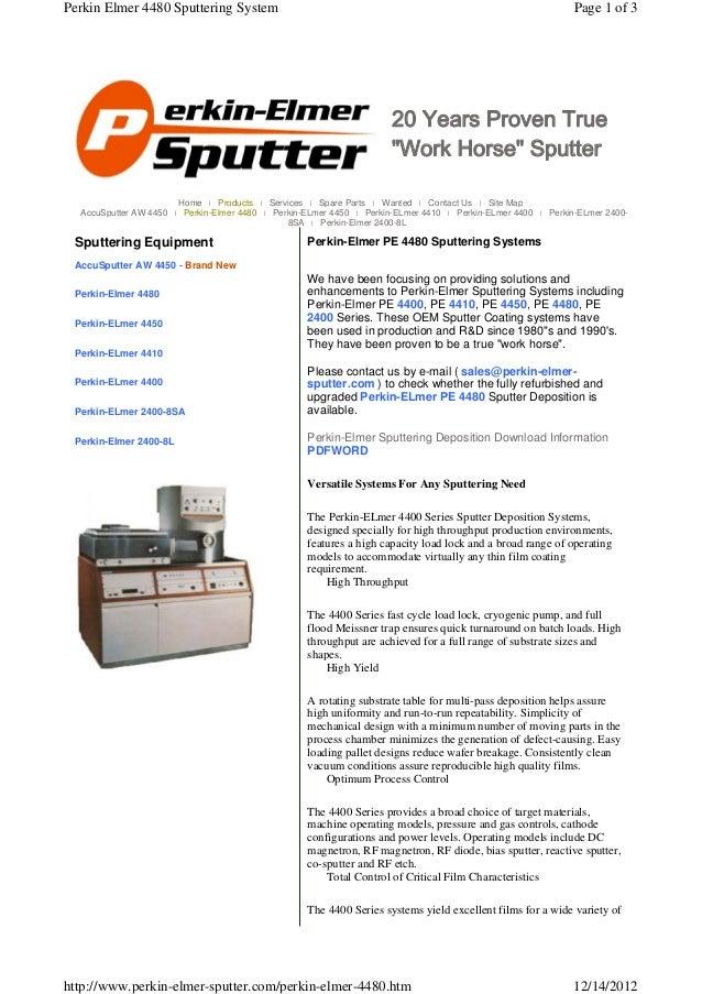 Perkin Elmer 4480 Sputtering System                                                                           Page 1 of 3 ...