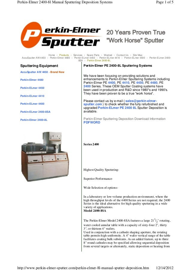 Perkin-Elmer 2400-8l Manual Sputtering Deposition Systems                                                     Page 1 of 5 ...