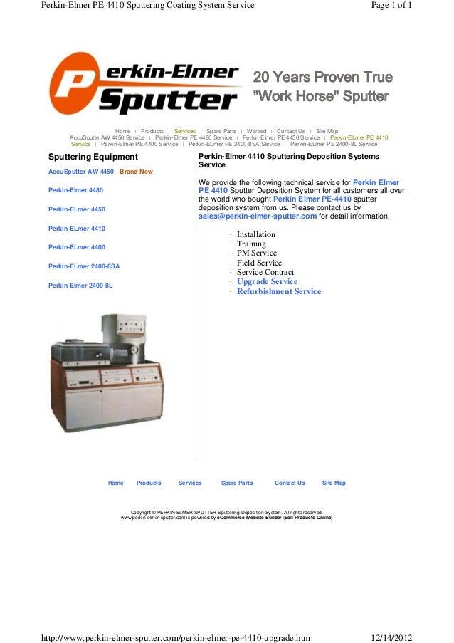 Perkin-Elmer PE 4410 Sputtering Coating System Service                                                                    ...