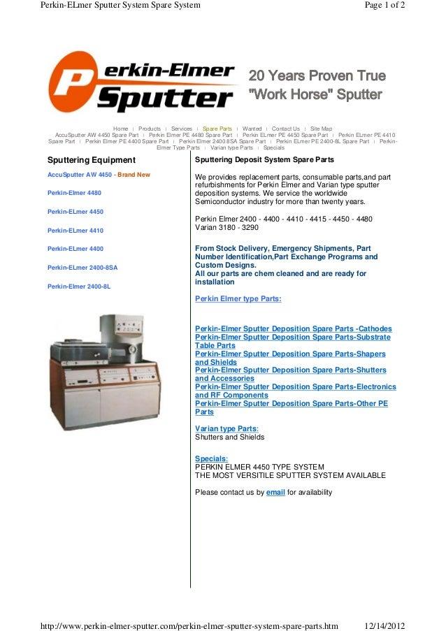 Perkin-ELmer Sputter System Spare System                                                                            Page 1...
