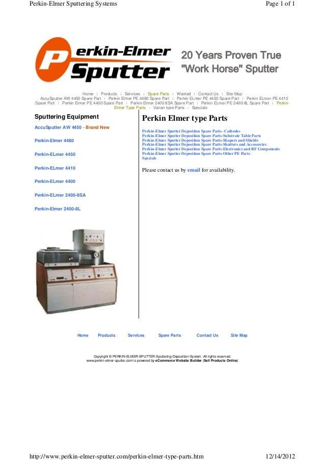Perkin-Elmer Sputtering Systems                                                                                           ...