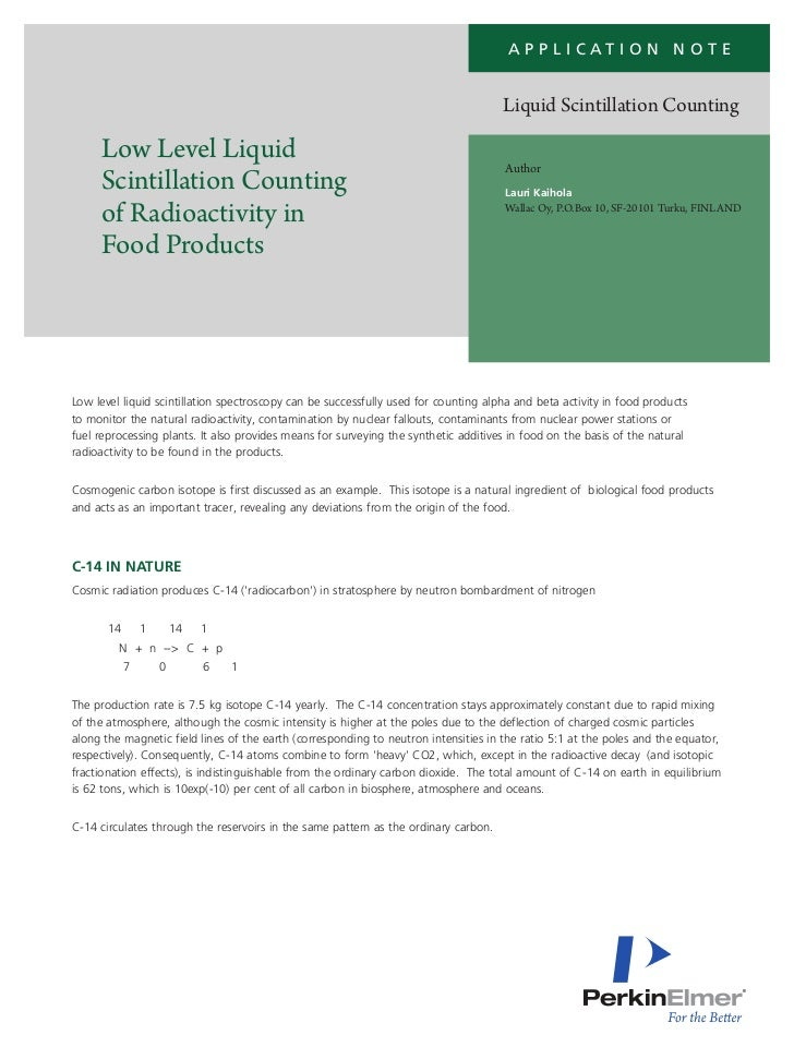 Application Note: Low Level Liquid Scintillation Counting of