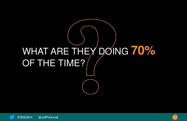 WHAT ARE THEY DOING 70%  OF THE TIME?  # DDSUM14 @JeffPerkins8 12