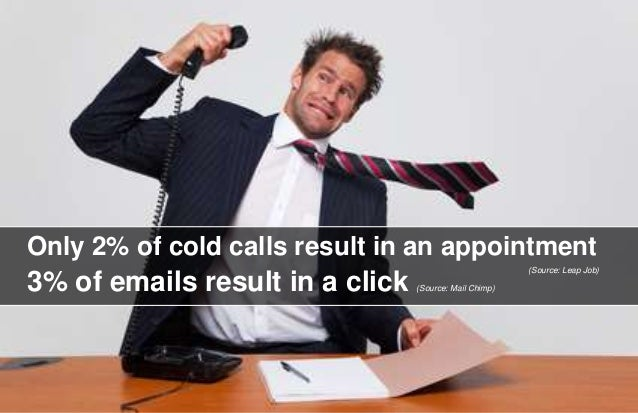 8  Only 2% of cold calls result in an appointment  3% of emails result in a click (Source: Mail Chimp)  (Source: Leap Job)