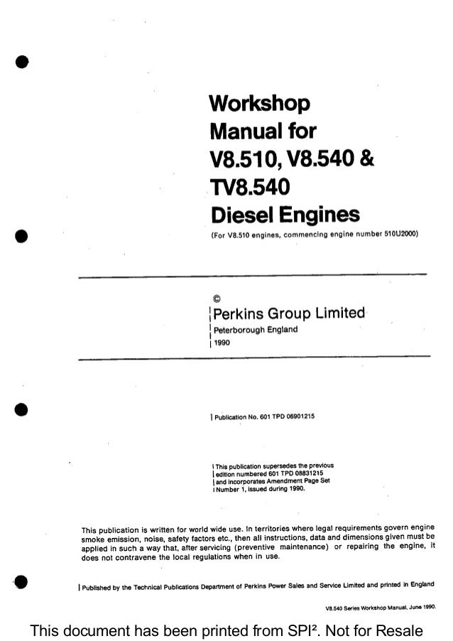 Perkins Tv8540 Diesel Engine Service Repair Manual