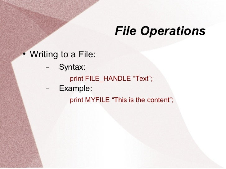 perl write file Learn how to open a filehandle and read or write to a simple text file in perl.
