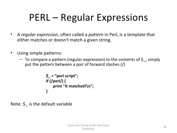 Perl 101 the basics of perl programming for Perl script template