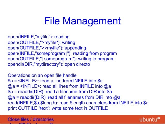 perl file write When perl wants to read data from the disk, or to write it to the network, or to read   when you write data to a file with print, the data doesn't normally go into the.