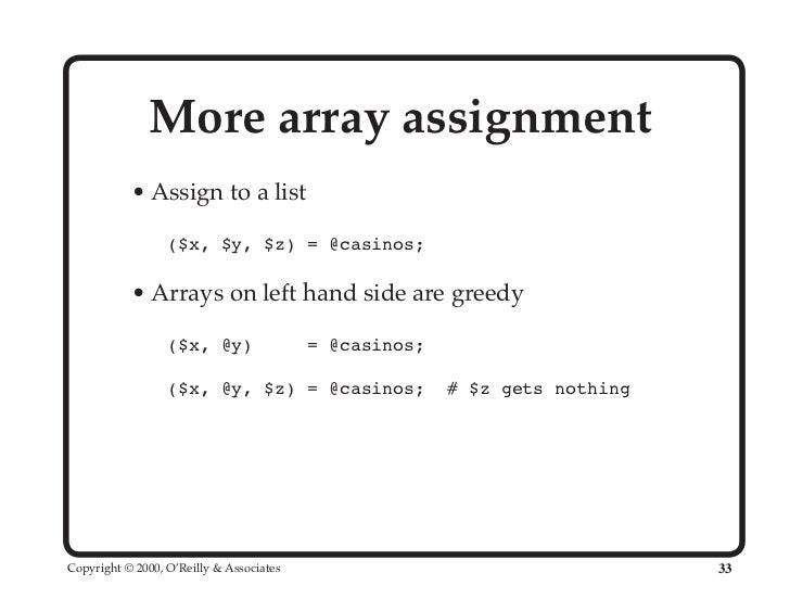 assign perl array