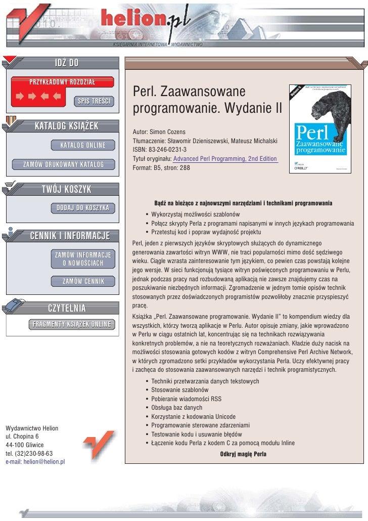 IDZ DO          PRZYK£ADOWY ROZDZIA£                             SPIS TREŒCI                                          Perl...