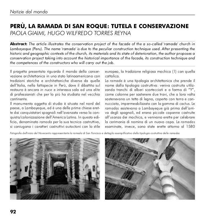 Notizie dal mondoPerù, la ramada di San roque: tutela e conServazionePaola Giaimi, huGo wilfredo torres reyNaabstract: The...