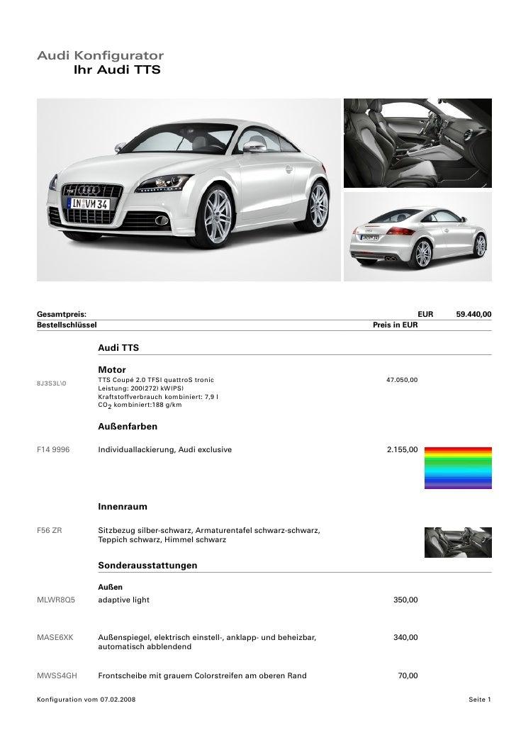 Audi Konfigurator      Ihr Audi TTS     Gesamtpreis:                                                                      ...