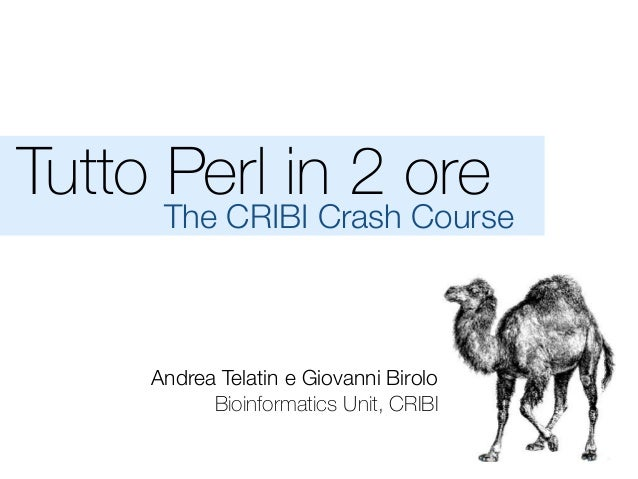 Tutto Perl in 2 ore The CRIBI Crash Course Andrea Telatin e Giovanni Birolo Bioinformatics Unit, CRIBI