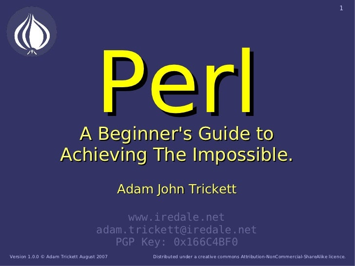 1                                        Perl                        A Beginner's Guide to                      Achieving ...