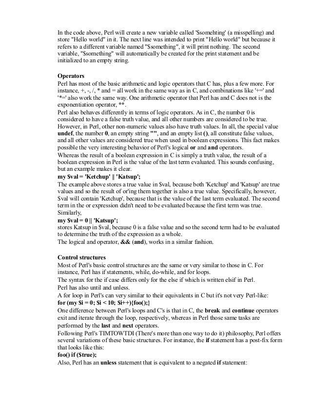 perl programmer resume