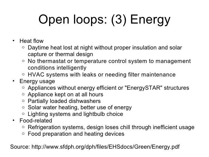 Open loops: (3) Energy <ul><ul><li>Heat flow </li></ul></ul><ul><ul><ul><li>Daytime heat lost at night without proper insu...