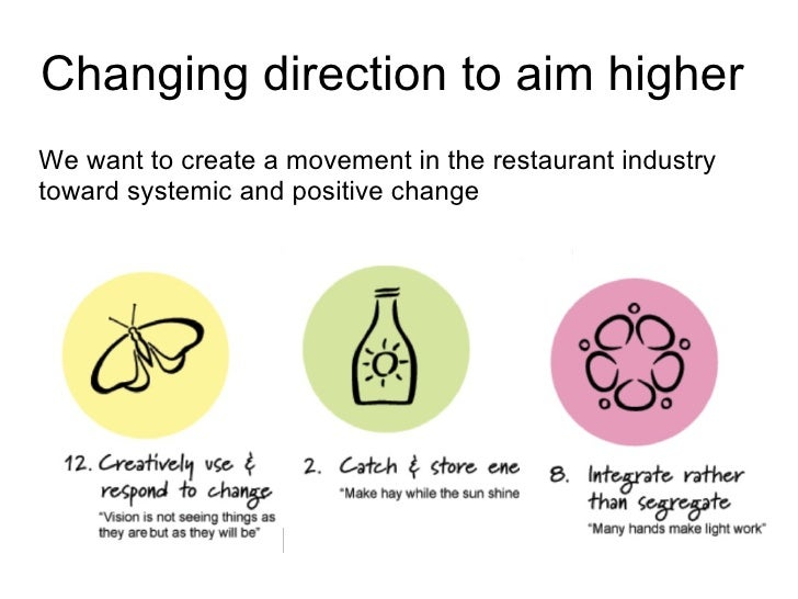 Changing direction to aim higher  We want to create a movement in the restaurant industry toward systemic and positive cha...