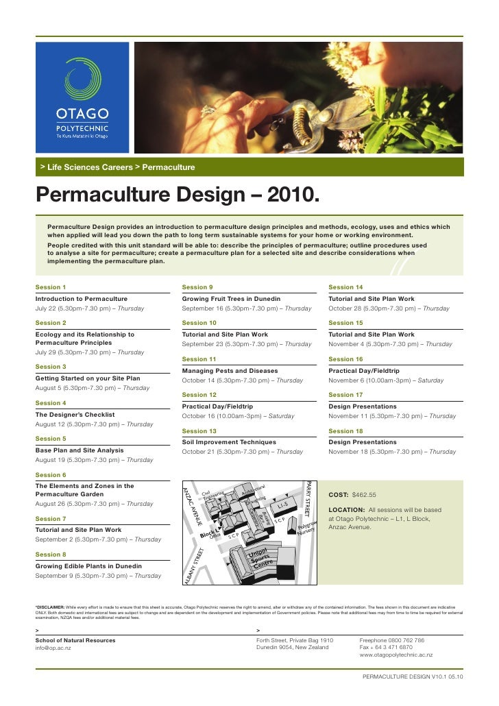 > Life Sciences Careers > Permaculture   Permaculture Design – 2010.       Permaculture Design provides an introduction to...