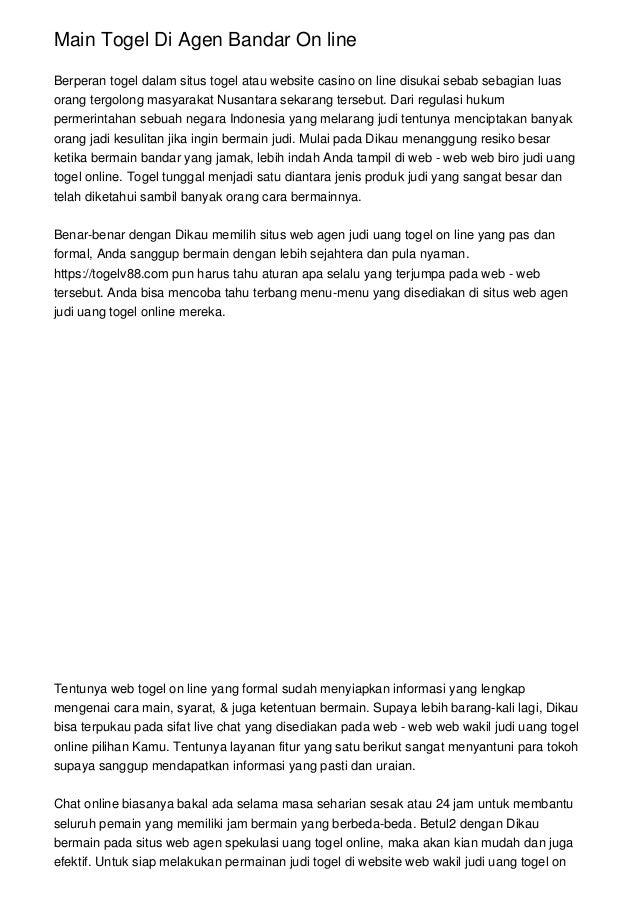 Main Togel Di Agen Bandar On line Berperan togel dalam situs togel atau website casino on line disukai sebab sebagian luas...