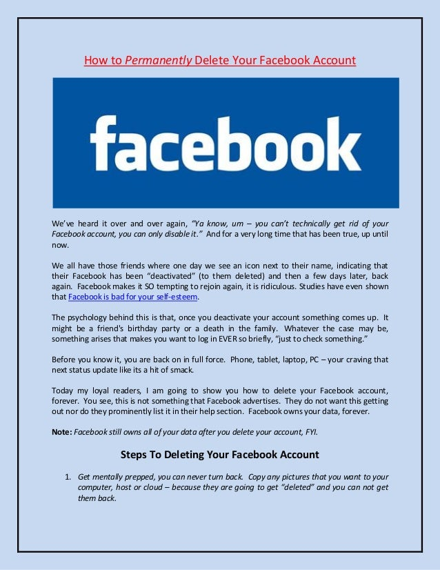 Permanently delete your facebook account how to permanently delete your facebook accountweve heard it over and over again ccuart Gallery