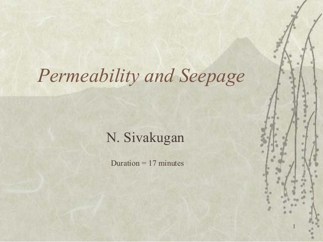 1  Permeability and Seepage  N. Sivakugan  Duration = 17 minutes