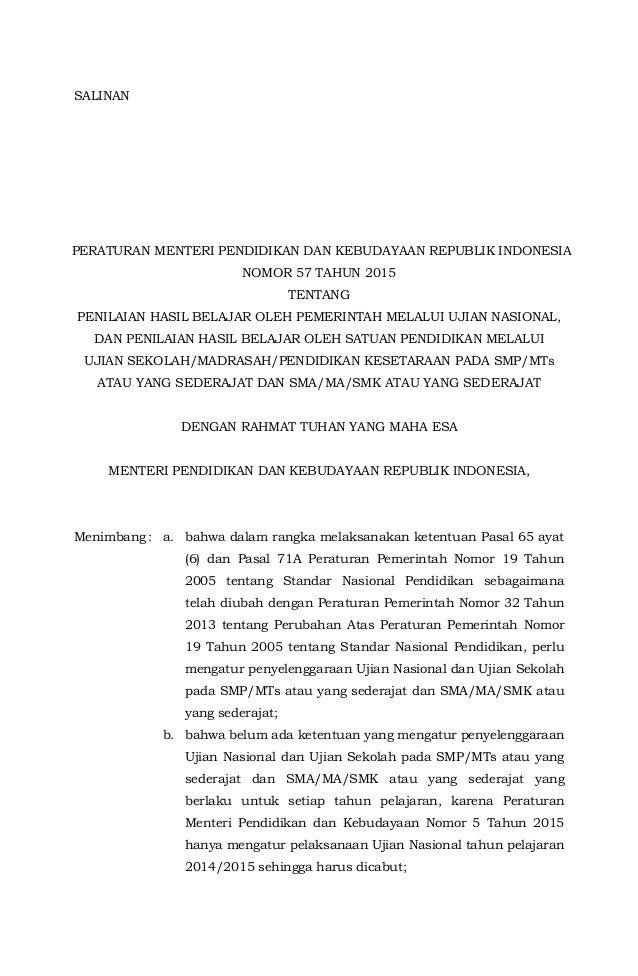 Permendikbud No 57 Tahun 2015