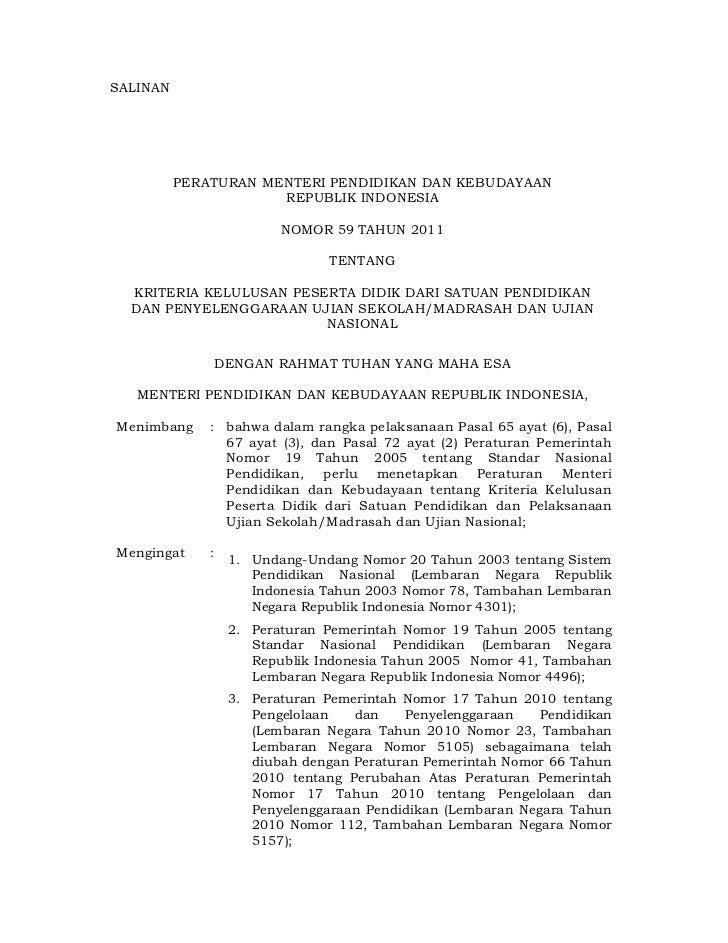 SALINAN          PERATURAN MENTERI PENDIDIKAN DAN KEBUDAYAAN                      REPUBLIK INDONESIA                      ...