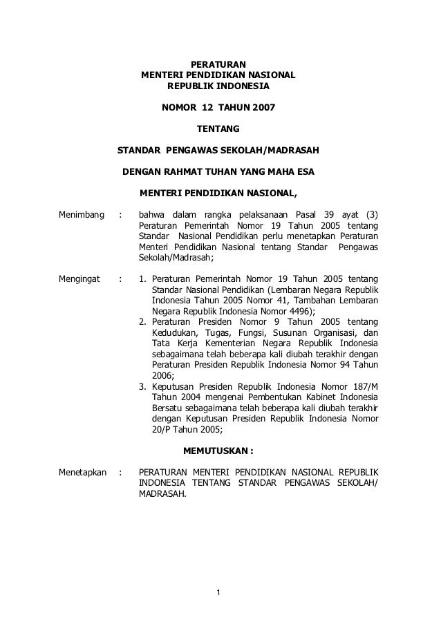 PERATURAN                    MENTERI PENDIDIKAN NASIONAL                        REPUBLIK INDONESIA                        ...