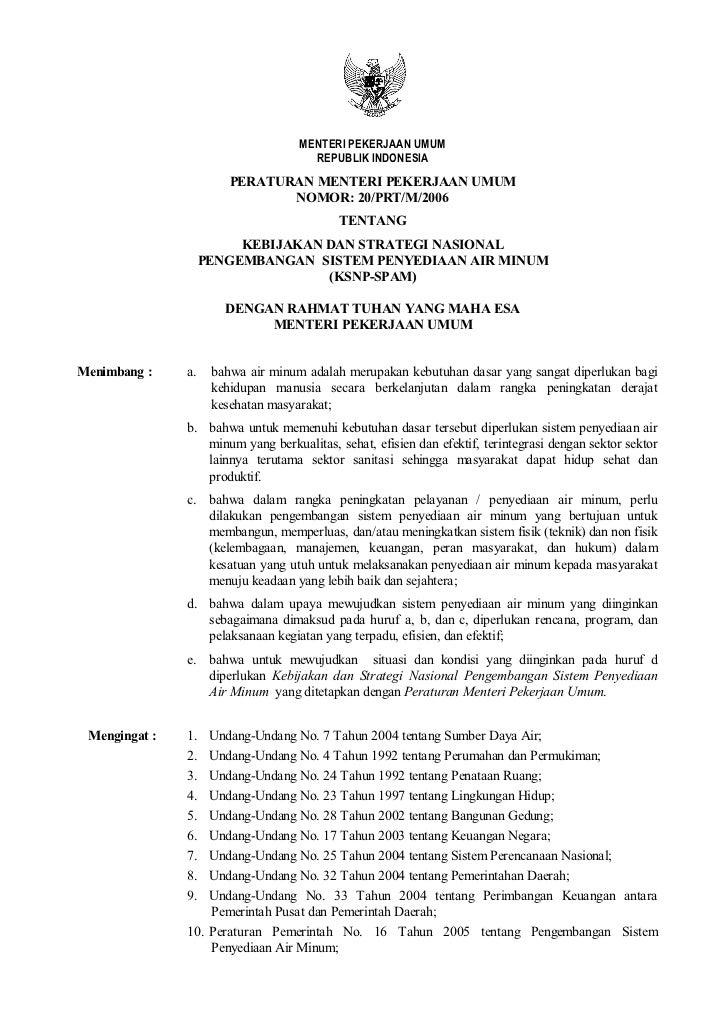 MENTERI PEKERJAAN UMUM                                     REPUBLIK INDONESIA                        PERATURAN MENTERI PEK...