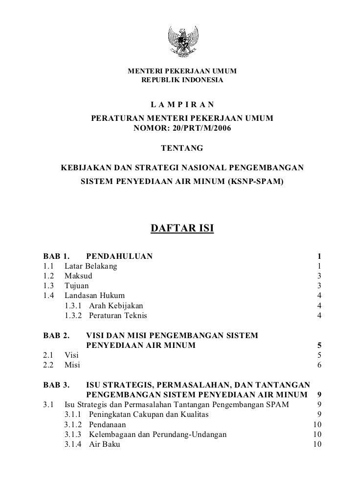 MENTERI PEKERJAAN UMUM                        REPUBLIK INDONESIA                          LAMPIRAN              PERATURAN ...