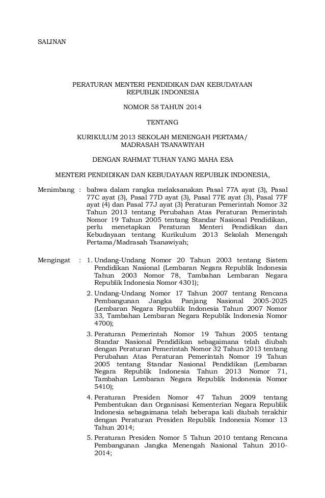 SALINAN  MENTERI PENDIDIKAN DAN KEBUDAYAAN  REPUBLIK INDONESIA  PERATURAN MENTERI PENDIDIKAN DAN KEBUDAYAAN  REPUBLIK INDO...