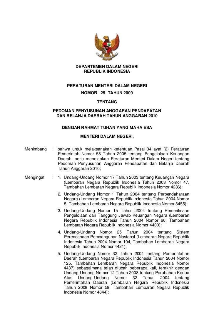 DEPARTEMEN DALAM NEGERI                             REPUBLIK INDONESIA                        PERATURAN MENTERI DALAM NEGE...