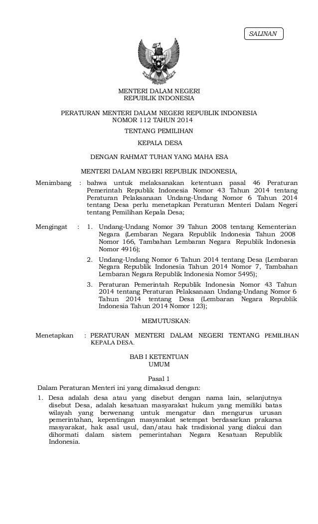 Permendagri No 112 Th 2014 Pemilihan Kepala Desa