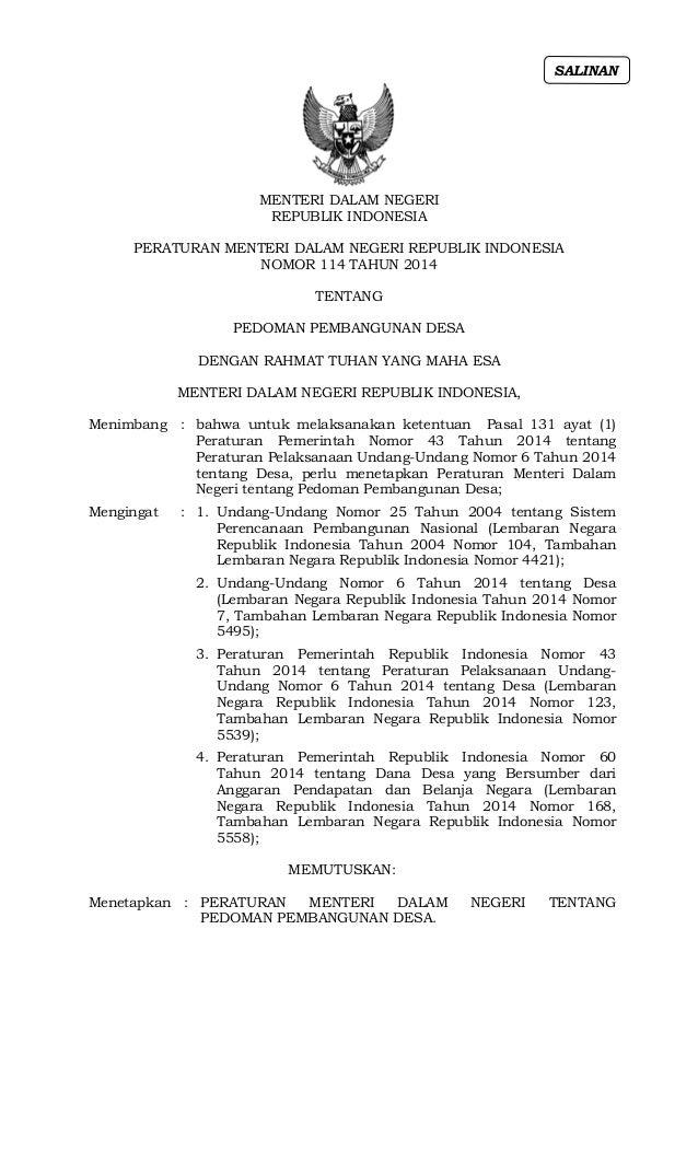 MENTERI DALAM NEGERI REPUBLIK INDONESIA PERATURAN MENTERI DALAM NEGERI REPUBLIK INDONESIA NOMOR 114 TAHUN 2014 TENTANG PED...