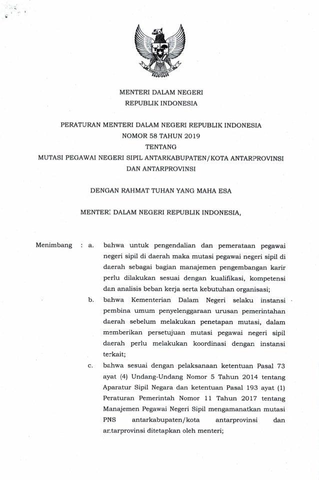 Permendagri 58 tahun 2019 tentang Mutasi PNS antarKabupaten/Kota Antarprovinsi dan Antarprovinsi