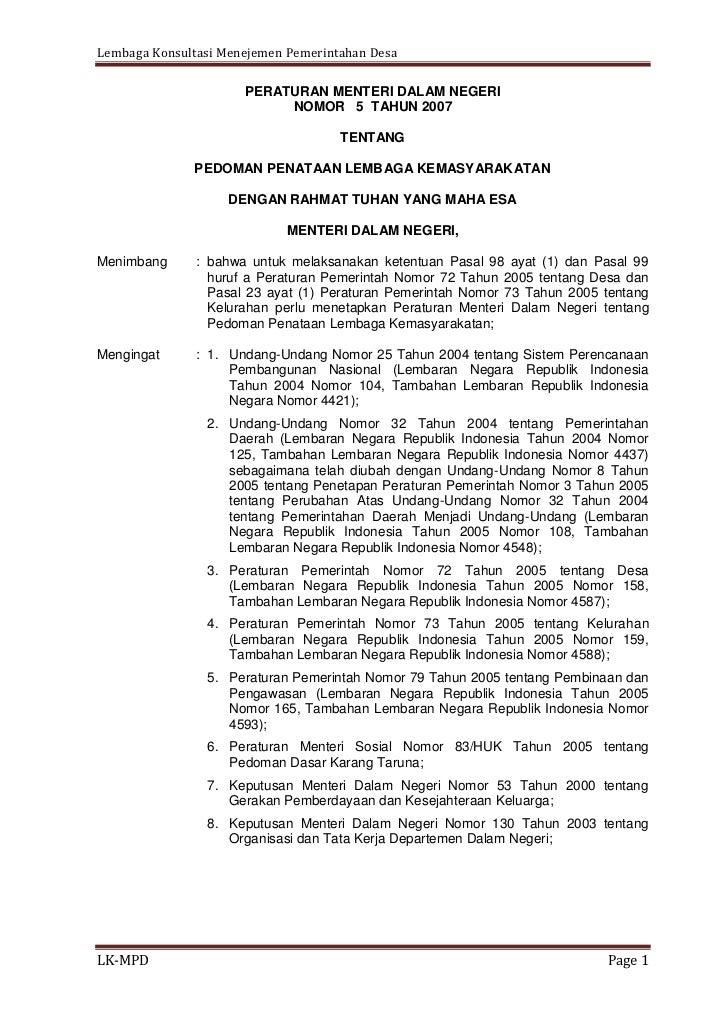 Lembaga Konsultasi Menejemen Pemerintahan Desa                      PERATURAN MENTERI DALAM NEGERI                        ...