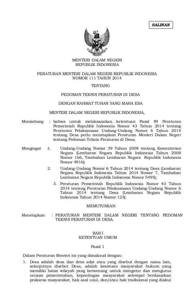 Permendagri No 111 Thn 2014