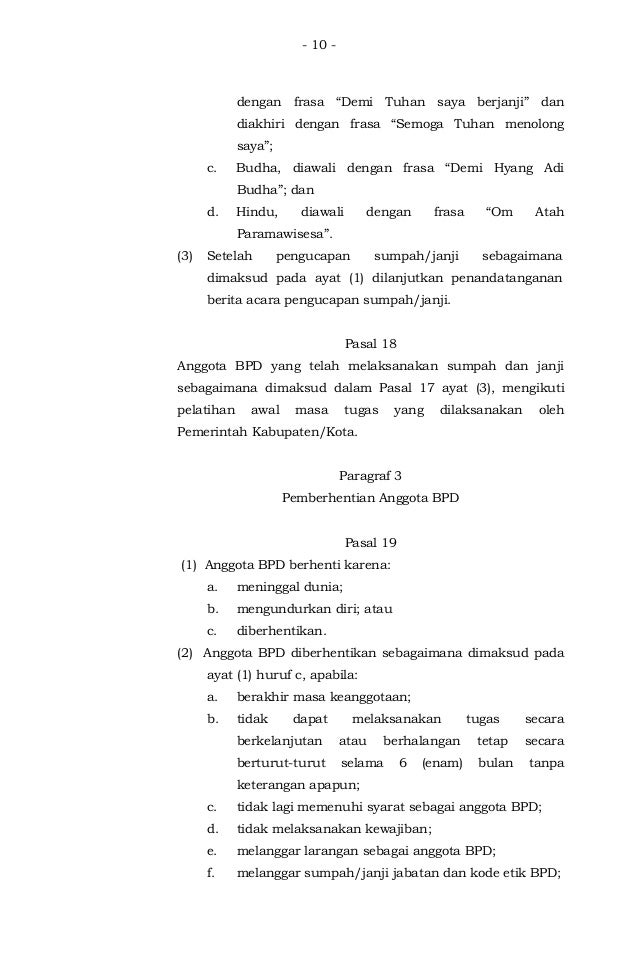 Permendagri No 110 Thn 2016 Tentang Badan Permusyawaratan Desa Bpd