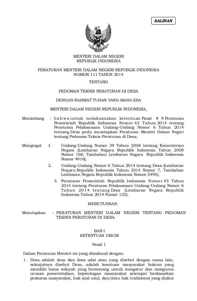 MENTERI DALAM NEGERI REPUBLIK INDONESIA PERATURAN MENTERI DALAM NEGERI REPUBLIK INDONESIA NOMOR 111 TAHUN 2014 TENTANG PED...