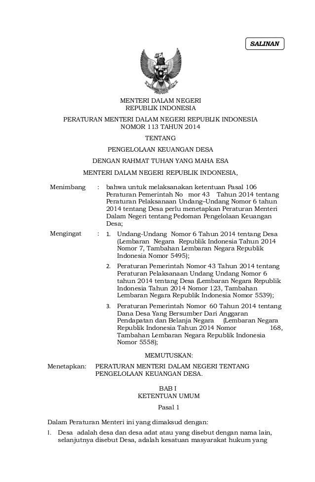 MENTERI DALAM NEGERI REPUBLIK INDONESIA PERATURAN MENTERI DALAM NEGERI REPUBLIK INDONESIA NOMOR 113 TAHUN 2014 TENTANG PEN...
