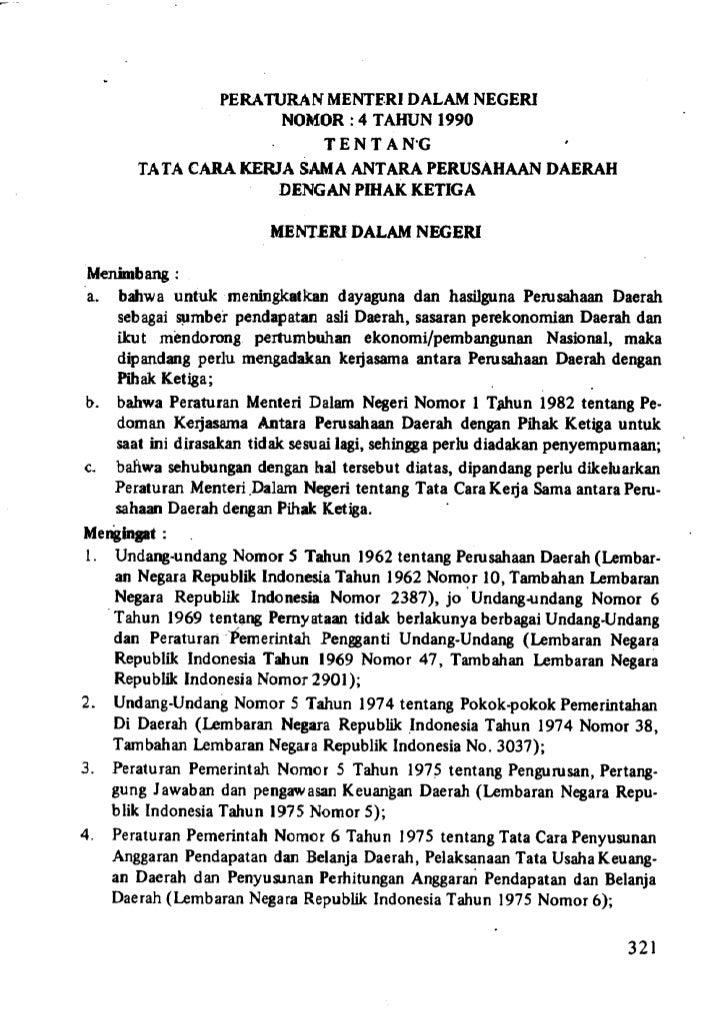 Peraturan Menteri Dalam negeri No. 4 Tahun 1990 tentang Tata Cara Kerja Sama Antara Perusahaan Daerah dengan Pihak Ketiga